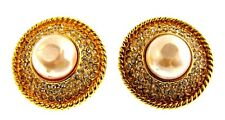 CLASSY Chanel Vintage Gold Plate, Rock Crystal & Pearl Clip On Earrings