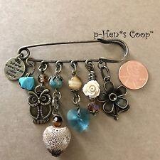 Safety Kilt Pin Brooch Owl Heart Rose handmade USA 1132