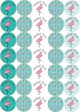 Flamingo Happy Post Stickers 37mm Round Matt Paper 35 To A Sheet