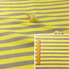 STRIPE GREY YELLOW Meter/Fat Quarter/FQ Cotton Quilt Fabric 13mm Stripes Basics