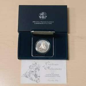 1995 Civil War Proof Battlefield Proof Silver Dollar W/ Original Box & COA