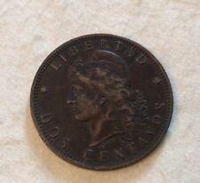 1889 Argentina Dos (2) Centavos Coin Very Good Condition