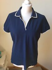 GEOX Navy Polo Shirt, White Trim Collar Neck With Button, Size XL (16/18) Sport