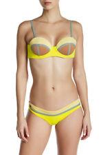 Maaji Women's L Firefly Timbers Yellow Reversible Swimsuit Bikini Top Underwire
