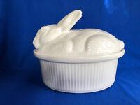 Vintage Calif.Pottery 5697- 43 Rabbit Covered Casserole Dish Has No Basket