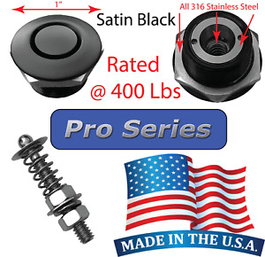 "Pro Series 1"" Satin Quick Release Push Button Hood Pin Lock Clip Bumper Latch"