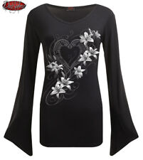 SPIRAL DIRECT PURE OF HEART V Neck Goth Sleeve Top/Gothic/Lilies/Rose/Goth/Dark