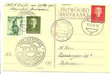 NEDERLAND 1953-5-17  PS CARD WITH PAID ANSWER  FFC . KLAGENFURT - AMSTERDAM  VF