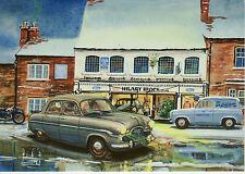 Large Christmas Card art Ford Zephyr mark 1 Ford 110E van Olney Buckinghamshire