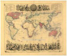 GRAND A1 Victorien Empire britannique à travers le Monde Antique Couleur Map Poster