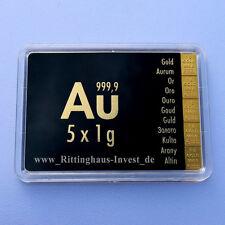 Plaque de lingots 5 x 1 g d'Or Valcambi Suisse Blister or 99,99 CombiBar 5x1g