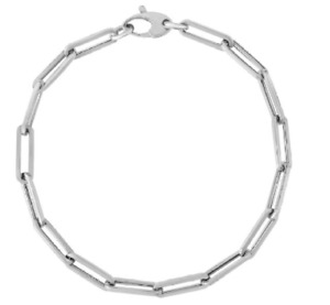 14kt White Gold PAPERCLIP Link Chain Bracelet 7.5 Inch 2.5 grams 4.2MM