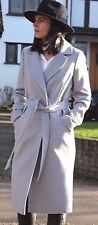 ASOS Grey Luxe Midi Popper Wrap Belted Trench Long Trench Coat 4 - 18 New