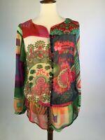 Desigual Womens Blouse Top Medium Multicolor Sheer Elastic Hem Sheer A76-11Z
