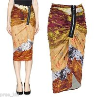 Mosaic Sequin Print Pencil Jersey Bodycon Skirt Ruching Asymmetric Side Zip Wrap
