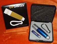OPSwiss Carabiner Blue Flashlight Key Chain Battery Case Item # YRHMTFL3A