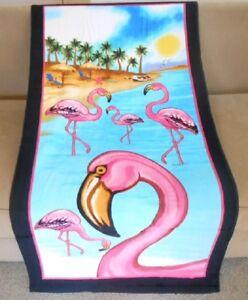 New 30x60 Pink Flamingo Beach Bath Pool Gift Towel Shore Ocean Bird Sunset NIP