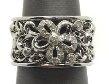 Sterling Silver Floating Diamond Pave Floral Swirl Elegant Wide Cocktail Ring