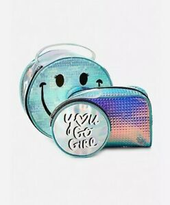 Justice Girl's 3 Pack Holographic Smile Travel Bags New with Tags