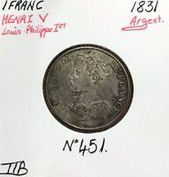 1 FRANC HENRI V - 1831 - Pièce de monnaie en Argent // TTB