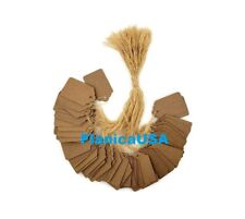 """100 pcs Kraft Paper Tags, Jewelry Price Tags with String (1 1/8"""" x 1 3/4"""")"""