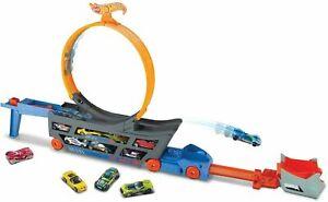 Hot Wheels Stunt & Go Car Track Play Set Holds 18 Diecast Storage Transporter