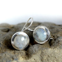 Natural Blue Fire Rainbow Moonstone Gemstone 925 Sterling Silver Jewelry Earring