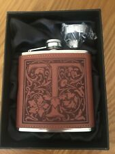 6oz Stainless Steel & Leather Hip Flask - Initial  T