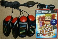 BUZZ THE MUSIC QUIZ GAME + OFFICIAL USB WIRED BUZZERS for SONY PLAYSTATION 2 PS2