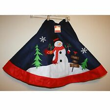 """NWT 48"""" Felt Snowman Let it Snow, Christmas Tree Shirt by Holiday Time"""