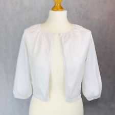 Monsoon White Cropped Cardigan shrug Cover up 3/4 Sleeve Size 12 RRP £36