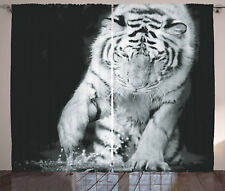 Tiger Curtains Large Cat Plays in Water Window Drapes 2 Panel Set 108x90 Inches