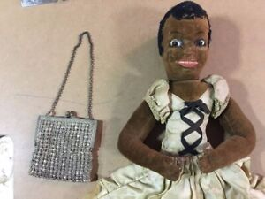 "Antique Black Boudoir Doll Norah Wellings Night Dress Case ""Negress"" Rare 1920s"