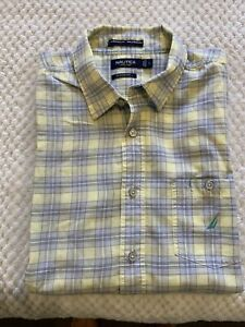 NAUTICA Men's Classic Fit Short Sleeve Button Up Check Shirt ~ Size Large