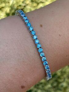 3mm Tennis Bracelet Real 925 Sterling Silver Aquamarine Blue Sapphire Diamond