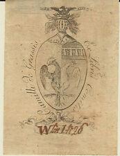 EX-LIBRIS héraldique comte Camillo de GRASSIS (1771-1848) BOLOGNE (ITALIE)