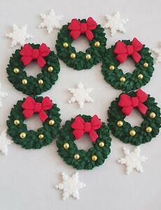Edible Sugar Wreaths Christmas Decorations, Christmas Cake Toppers