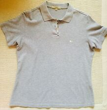 100% Authentic Burberry Brit Check Trim Polo Shirt Gray Size Medium