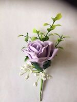 Wedding Flowers  12 X Lilac Rose & White Gyp Buttonhole's MADE TO ORDER £15.00