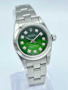 Ladies Rolex Oyster Perpetual 76080 24mm Green MOP Diamond Dial Dial Oyster