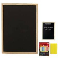 1 Kids Chalkboard Set With Eraser Chalks Dry Wipe Blackboard Hanging Draw Board