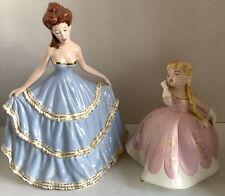 2 Vintage Holland Mold Classic Victorian Figurines, Elegant Lady, Little Girl