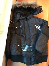 Rocawear Nwt Boys 5 6 Black Winter Snow Coat Jacket 3-in-1 Fur Hooded Vest New
