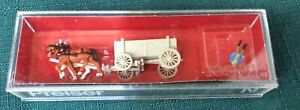 Preiser N Scale #9475 Horse Drawn ORE Wagon with Figure NOS