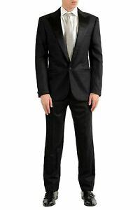 Versace Men's Silk Wool Tuxedo Black One Button Suit US 38 IT 48