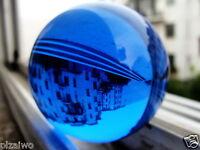 40mm + Stand Asian Rare Natural Quartz Blue Magic Crystal Healing Ball Sphere