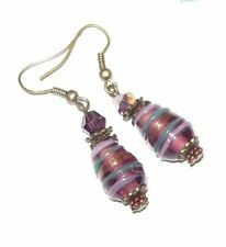 AMETHYST LINES LAMPWORK GLASS EARRINGS
