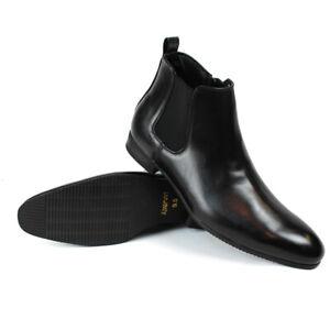 Black Leather Mens Ankle Dress Boots Side Zipper Round Toe Chelsea ÃZARMAN