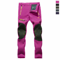 Women Outdoor Hiking Soft Shell Waterproof Thermal Pants Zipper Pockets Trousers