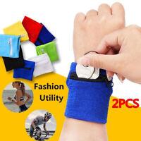 Polyester Cotton Wrist Bag Fitness Sports Zipper Wristband Coin Purse Key Holder